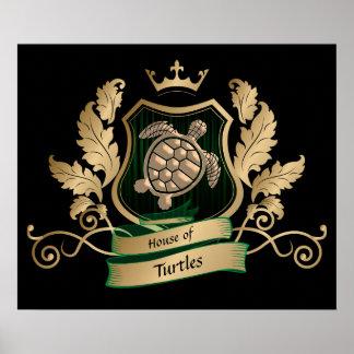 Casa do poster do design da crista das tartarugas