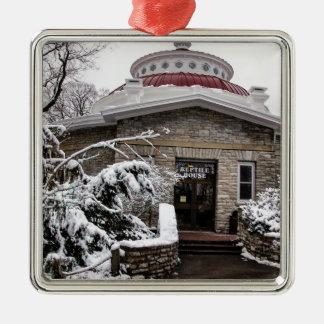 Casa do réptil do jardim zoológico de Cincinnati Ornamento Quadrado Cor Prata