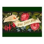 Casa doce Home floral do vintage bonito Cartões Postais