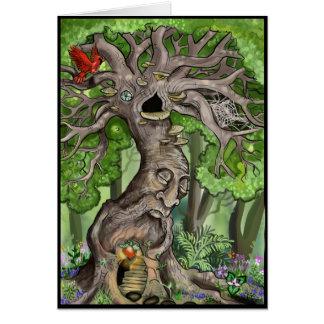 Casa feericamente da árvore cartão comemorativo