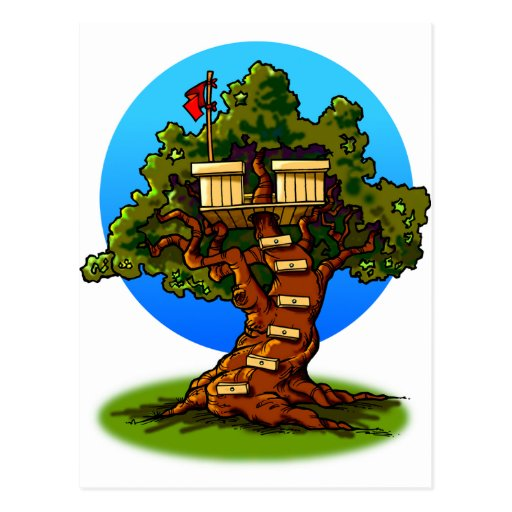 Casa na árvore dos desenhos animados cartão postal