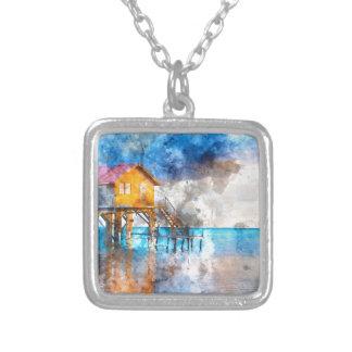 Casa no oceano no Ambergris Caye Belize_ Colar Banhado A Prata