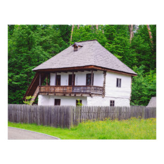 Casa rural velha modelo de panfleto