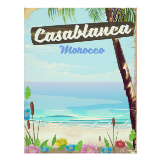 Casablanca Marrocos, poster vintage romântico