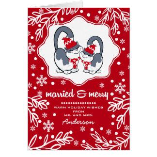 Casado & feliz. Cartões de Natal engraçados dos