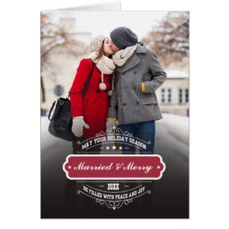 Casado & feliz. Cartões do modelo da foto do Natal
