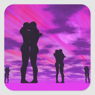 Casais no amor - 3D rendem Adesivo Quadrado