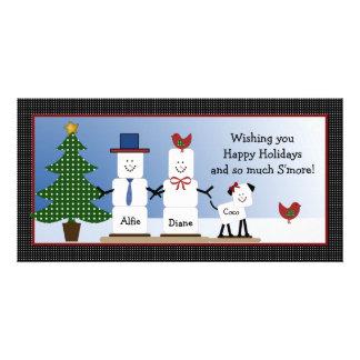 Casal bonito de S'mores com o cartão de Natal do c Cartão Com Foto