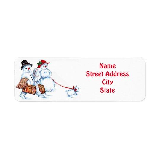 Casal & cão do boneco de neve etiqueta endereço de retorno