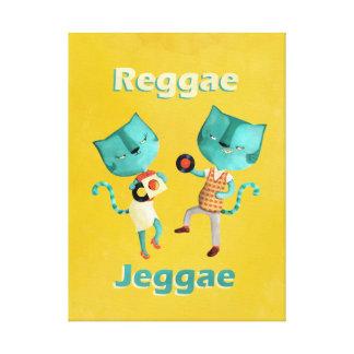 Casal de gatos azuis da reggae impressão em tela