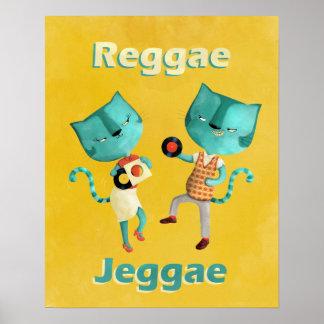 Casal de gatos azuis da reggae poster