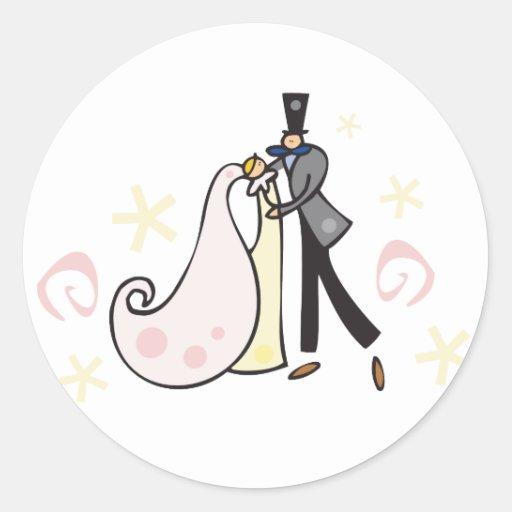 Casal do casamento da dança adesivo redondo