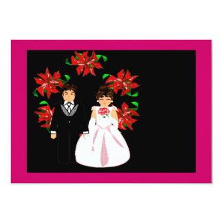 Casal do casamento do Natal com a grinalda em rosa Convite 12.7 X 17.78cm