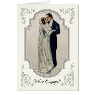 Casal do Victorian no noivado do vestido de Cartão Comemorativo