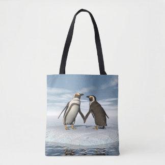 Casal dos pinguins bolsa tote