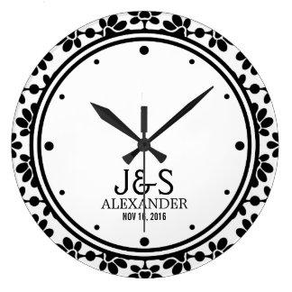 Casal moderno do casamento personalizado relógios para pendurar