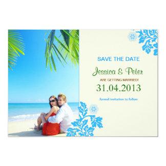 casal nas economias que da foto da praia a data convite 12.7 x 17.78cm