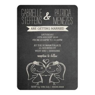 Casal no convite lésbica do casamento do quadro