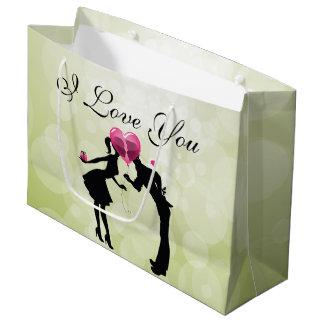 Casal no saco do presente do amor - grande sacola para presentes grande