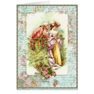 Casal romântico da regência do vintage com rosas cartoes