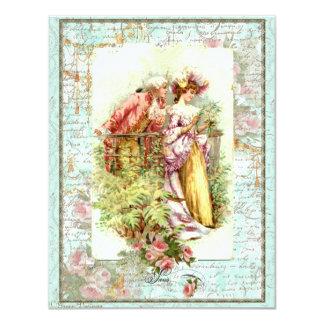 Casal romântico da regência do vintage com rosas convite personalizados