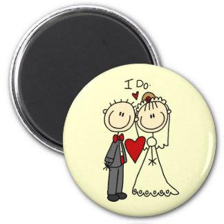 Casal Wedding eu faço t-shirt e presentes Ímã Redondo 5.08cm