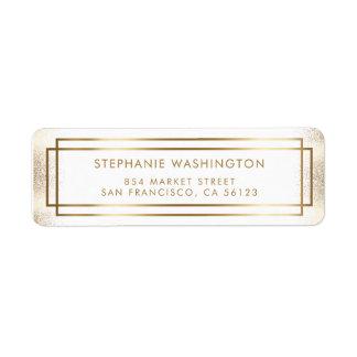 Casamento à moda da beira do branco & do ouro etiqueta endereço de retorno