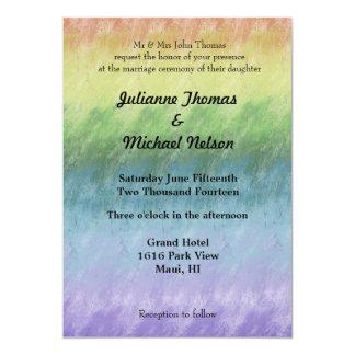 Casamento abstrato do arco-íris convite