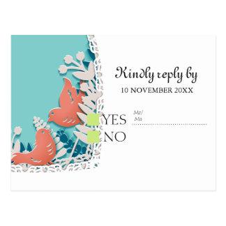 Casamento alaranjado bonito do entalhe do origami cartão postal