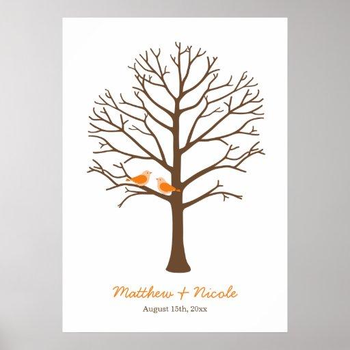 Casamento alaranjado da árvore da impressão digita