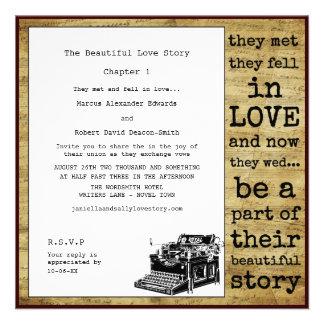 Casamento alegre da máquina de escrever do vintage convite