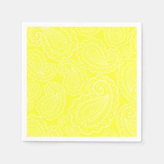 Casamento amarelo chique do design floral de guardanapo de papel