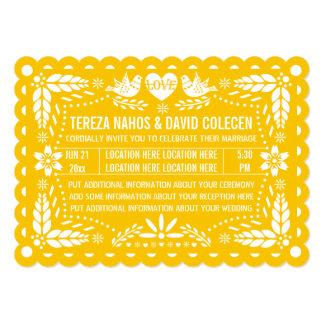 Casamento amarelo da festa dos pássaros do amor do convite 12.7 x 17.78cm
