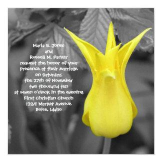 Casamento amarelo da tulipa convite quadrado 13.35 x 13.35cm