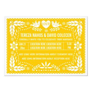 Casamento amarelo dos pássaros do amor do picado convite 12.7 x 17.78cm