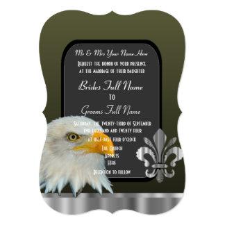Casamento americano patriótico do exército da convite 12.7 x 17.78cm
