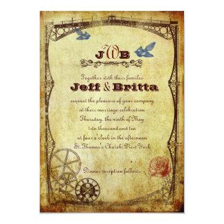 Casamento antigo de Steampunk do Victorian do ouro Convite 12.7 X 17.78cm
