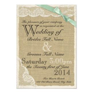 Casamento antigo do país do arco do laço e da convite 12.7 x 17.78cm
