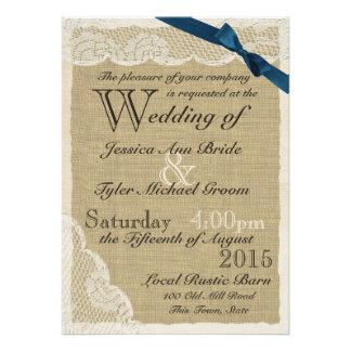 Casamento antigo do país do arco do marinho do laç convite personalizado