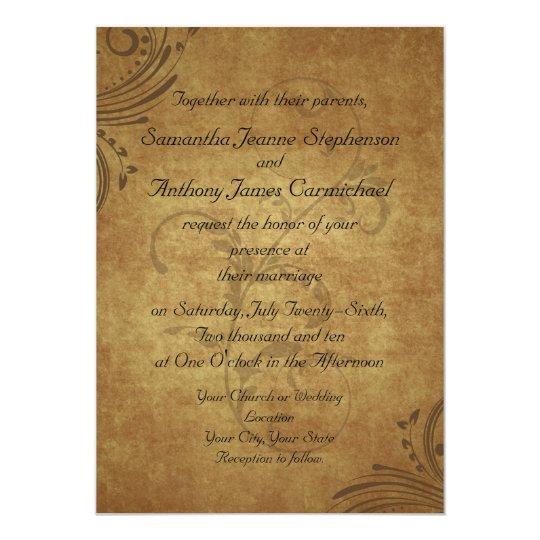 Casamento antigo do redemoinho de Teastain do Convite 12.7 X 17.78cm