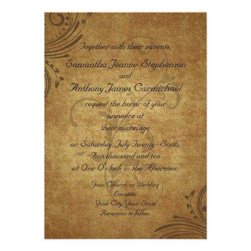Casamento antigo do redemoinho de Teastain do vint Convite Personalizado