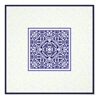 Casamento azul árabe islâmico do noivado do convite quadrado 13.35 x 13.35cm