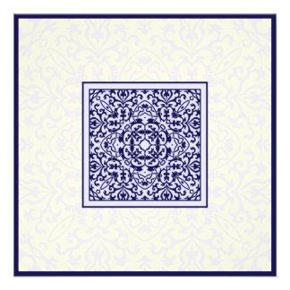 Casamento azul árabe islâmico do noivado do orname convites