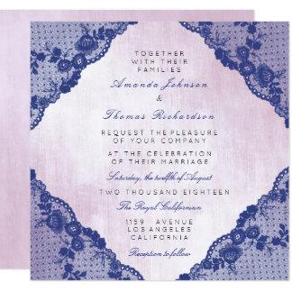 Casamento azul branco clássico do laço do marinho convite quadrado 13.35 x 13.35cm