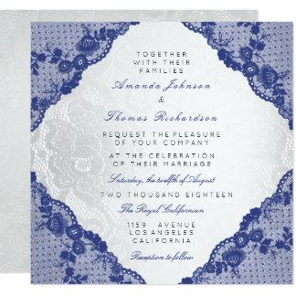 Casamento azul branco de prata clássico do laço do convite quadrado 13.35 x 13.35cm