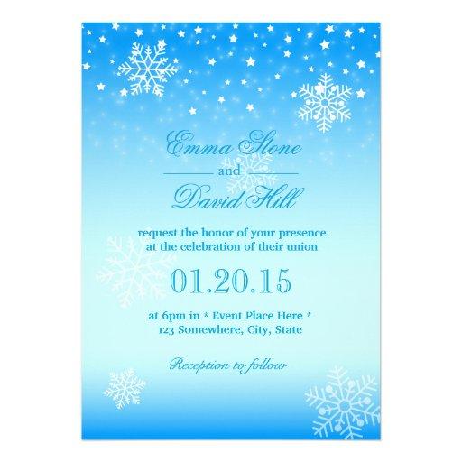 Casamento azul congelado elegante dos flocos de convite personalizado