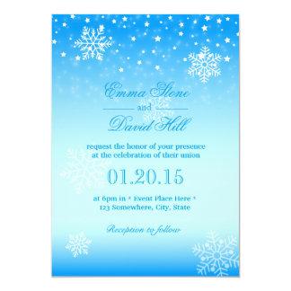Casamento azul congelado elegante dos flocos de convite 12.7 x 17.78cm