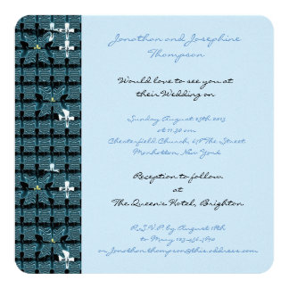 Casamento azul da borboleta convite quadrado 13.35 x 13.35cm