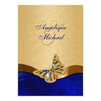Casamento azul da borboleta do marrom do ouro convite 12.7 x 17.78cm