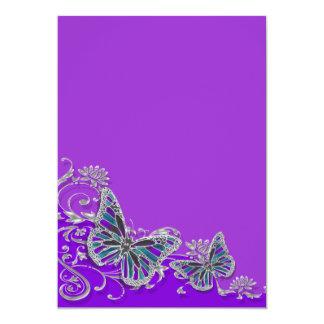 Casamento azul de prata roxo da borboleta convite 12.7 x 17.78cm